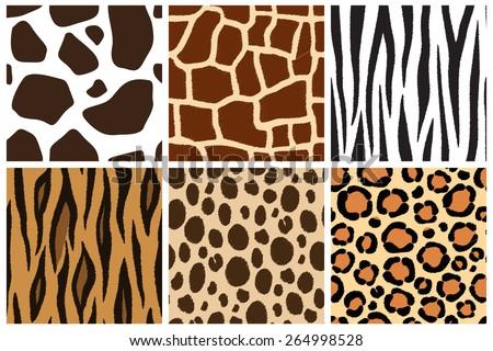 Animal skin. Seamless patterns. Cow, giraffe, zebra, tiger, cheetah, leopard - stock vector