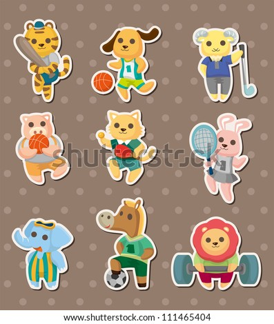 animal sport stickers - stock vector