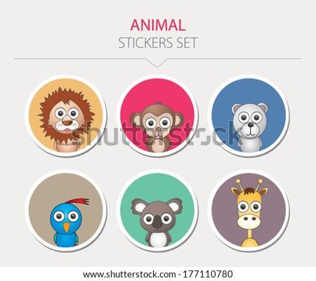Animal stickers. Vector illustration - stock vector