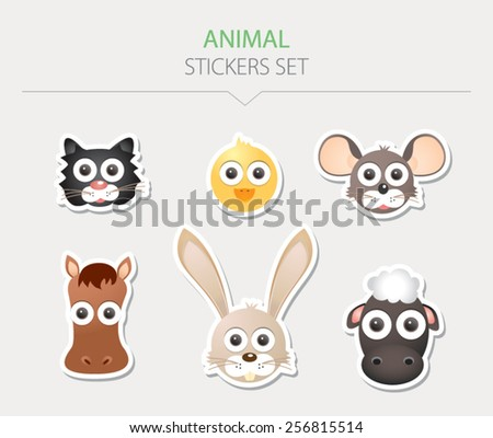 Animal stickers. Vector Illustration - stock vector