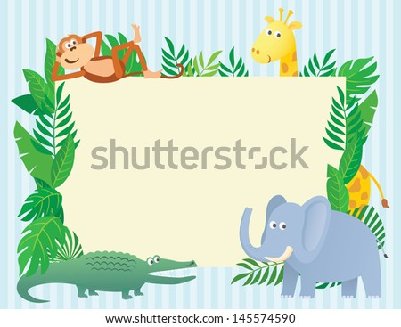 Animal themed illustration with blank sign board for text - stock vector