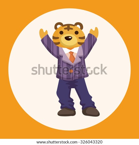 animal tiger worker cartoon theme elements