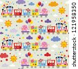 animal train kids pattern - stock vector