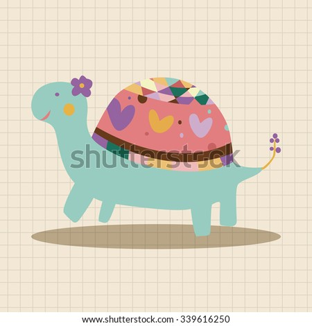 animal turtle cartoon theme elements vector,eps - stock vector