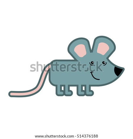 Animal vector illustration isolated on white background. Happy mouse for kindergarten, elementary school, toy store, kids clothing shop. Logotype for children brand.
