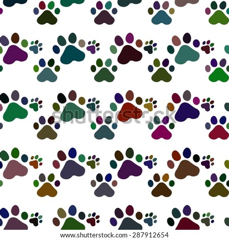 Animal vector pattern of paw footprint . texture can be used for printing onto fabric, web page background and paper or invitation. Dog style. - stock vector