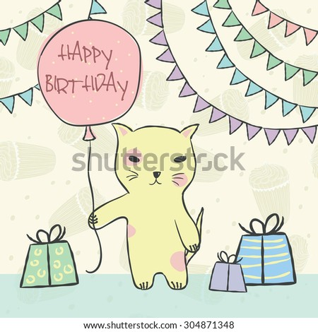 Animal yellow cat with pink balloon, gifts, garlands, on seamless pattern with birthday cupcakes and a candle for invitation, birthday cards Vector illustration eps10 - stock vector