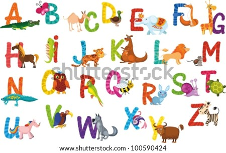 animals alphabet - stock vector