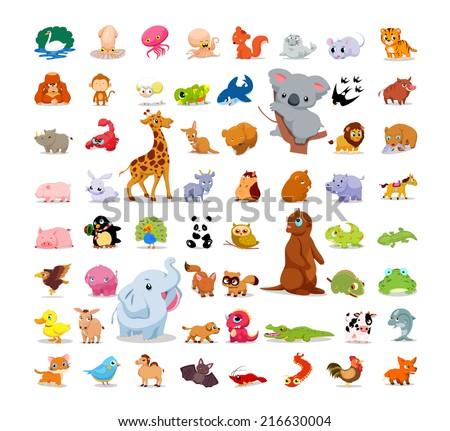 Animals and birds so cute set - stock vector