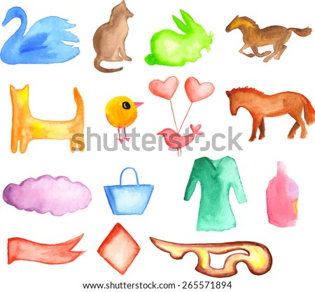 Animals and decorative objects. Vector set. Watercolor painted elements. - stock vector