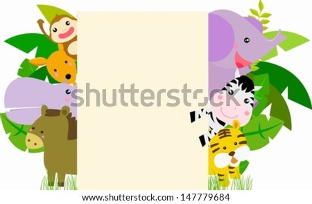 Animals and frame - stock vector