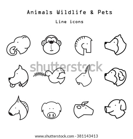 Animals and pets line icons set