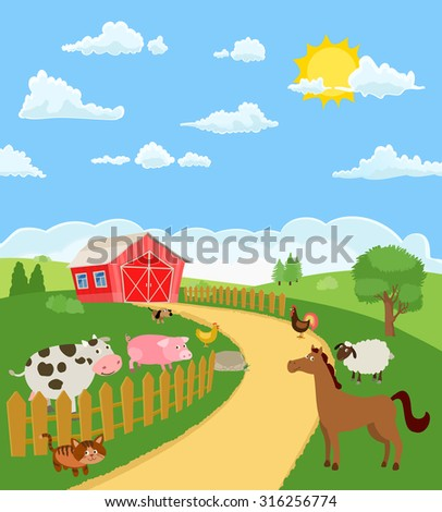 animals and poultry on farm landscape. vector