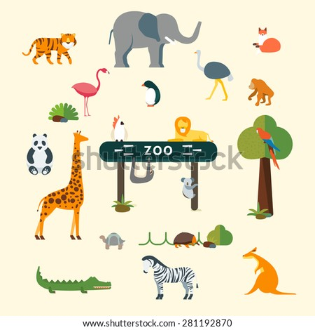 Animals and Zoo - stock vector