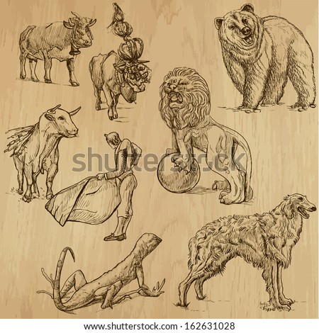 Animals around the World (set no. 7) - Collection of an hand drawn illustrations. Description: Each drawing comprise of two layer of outlines, colored background is isolated.  - stock vector