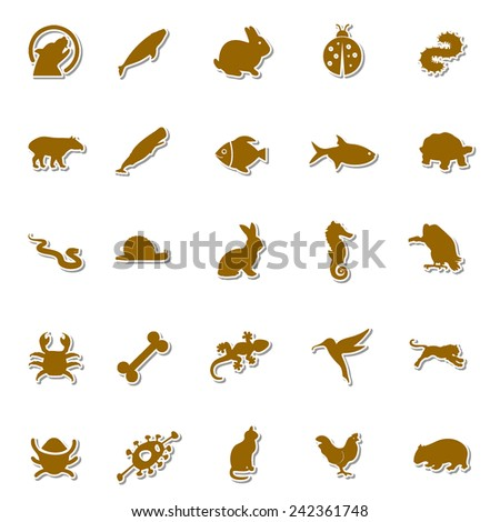 Animals Art icon set 1 - stock vector