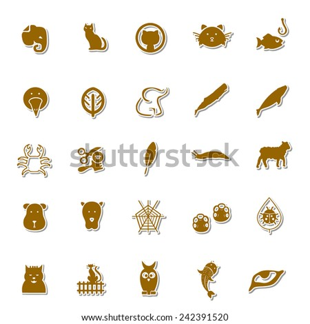 Animals Art icon set 2 - stock vector