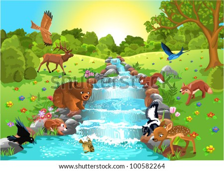 animals at the water - stock vector