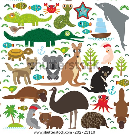 Animals Australia: Echidna Platypus ostrich Emu Tasmanian devil Cockatoo parrot Wombat snake turtle crocodile kangaroo dingo octopus fish. Seamless pattern on white background.  Vector illustration - stock vector
