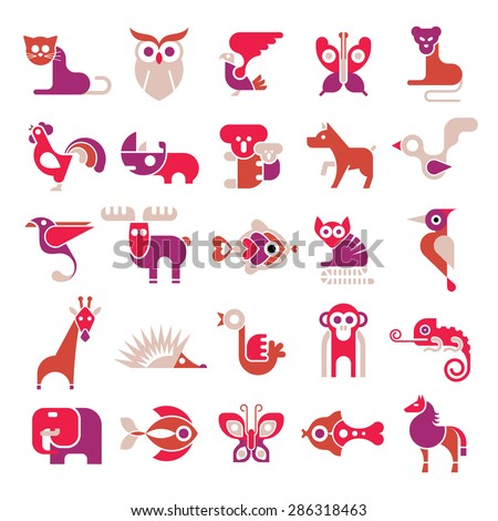 Animals, birds and fishes - large vector icon set. Various isolated colorful clip arts on white background.