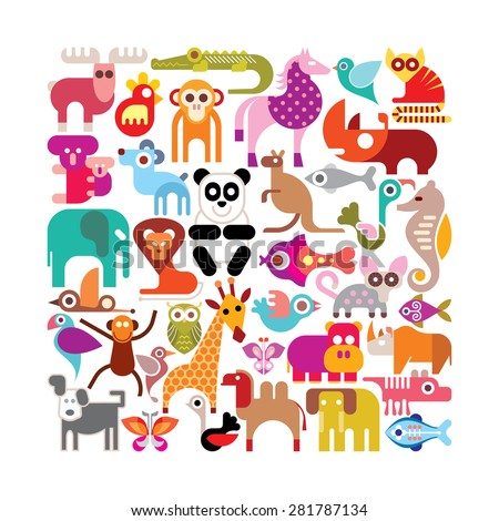 Animals, birds and fishes - square shape vector illustration. Various colorful icons on white background.  - stock vector
