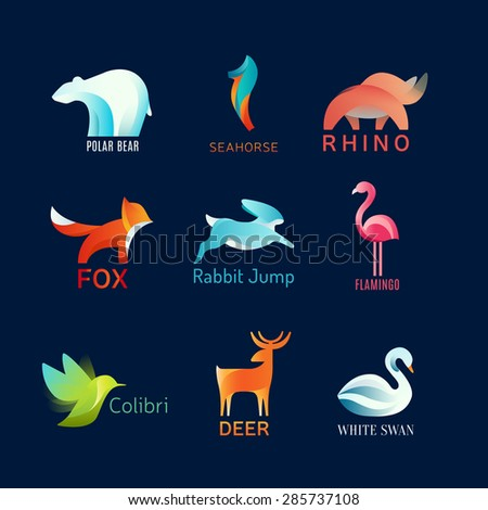 Animals Birds vector logo set - stock vector