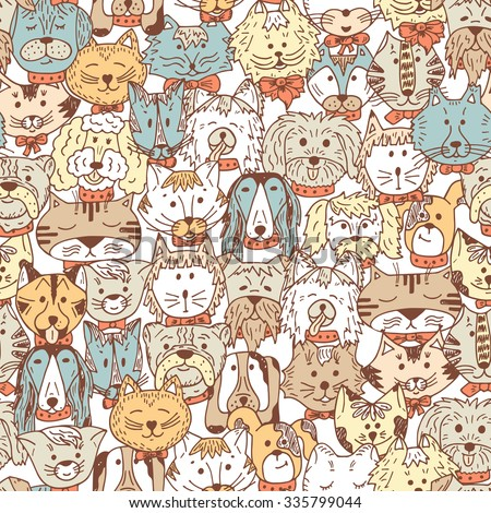 Animals. Cats and Dogs Vector Seamless pattern. Hand Drawn Doodles Pets. Cute Cats and Dogs colored background. - stock vector