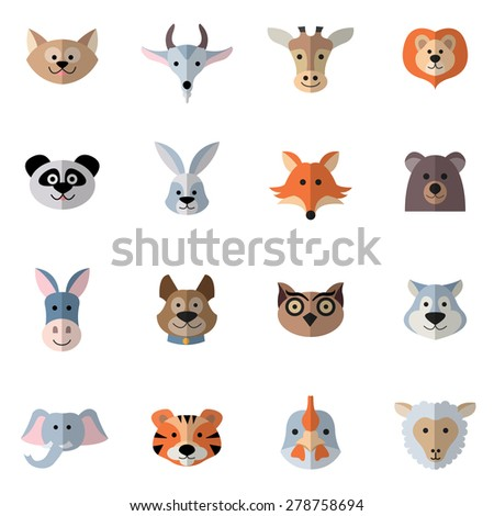 Animals characters flat set with donkey fox rabbit heads isolated vector illustration - stock vector