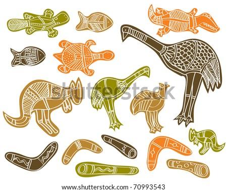 animals drawings aboriginal australian style - stock vector