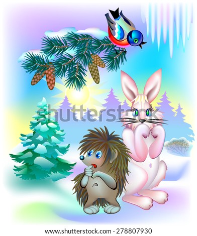 Animals during winter waiting for spring, vector cartoon image - stock vector