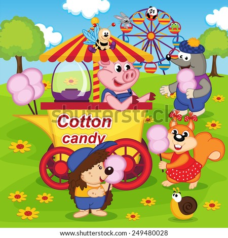 animals eat cotton candy at amusement park - vector illustration, eps - stock vector