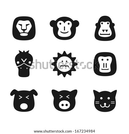 animals face head flat design - stock vector