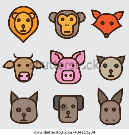 Animals faces set - stock vector