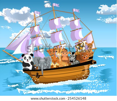 animals floating on a ship - stock vector