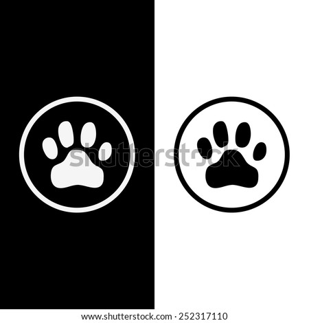 Animals footprints black and white color vector - stock vector