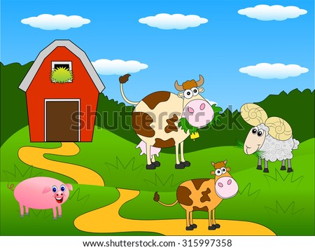 animals graze on the green lawn near the farm ,vector illustration