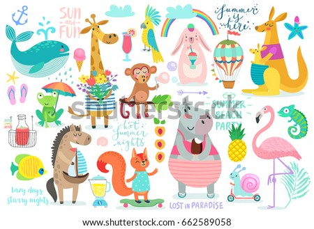 Animals hand drawn style, Summer set - calligraphy and other elements. Vector illustration.