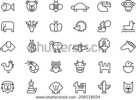 Animals icon set - stock vector