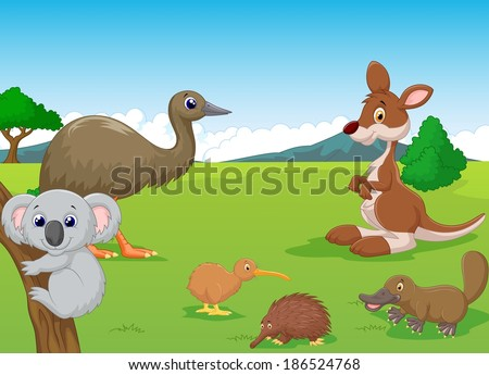 Animals in Australian Outback - stock vector