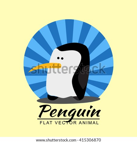 Animals in flat style. Flat animal element for design, icon, character. Penguin isolated on  background. Vector illustration. - stock vector