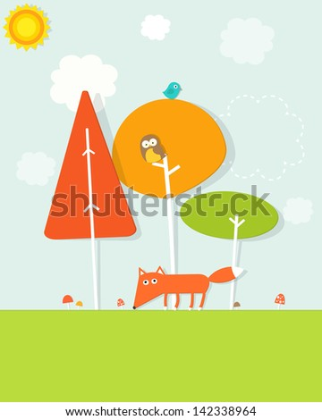 animals in the forest - stock vector
