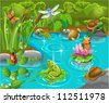 animals in the pond - stock photo