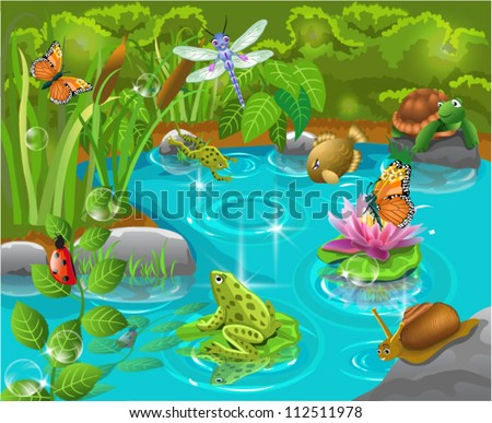 animals in the pond - stock vector