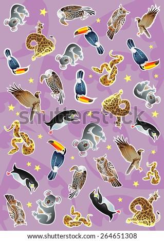 Animals: koala, snake, penguin, toucan, owl, falcon, vulture, giraffe. Design of vector illustrations - stock vector