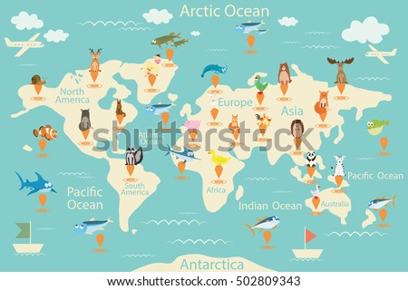 Animals map world world map children stock vector 502809343 animals map of the world world map for children animals poster continent gumiabroncs Images