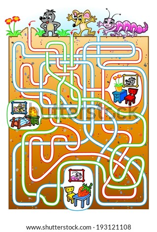Animals maze for kids. Find a burrow for animals. - stock vector
