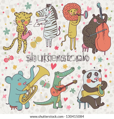 Animals - musicians. Leopard, zebra, panda, bear, lion, elephant, crocodile are playing on classical musical instruments. Cartoon vector set - stock vector
