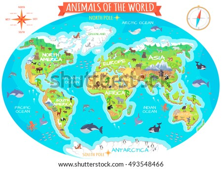 Animals world vector flat style animals vector de stock493548466 animals of the world vector flat style animals world globe with map of continents gumiabroncs Choice Image