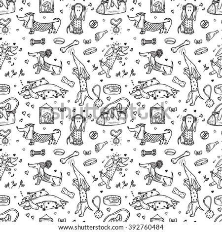 Animals. Pets. Funny Dachshund Dogs. Dog Vector Seamless Pattern. Hand Drawn Doodles Dachshunds.