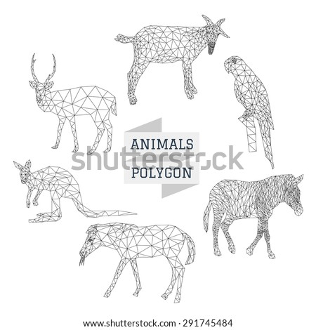 Animals polygon outline vector - stock vector